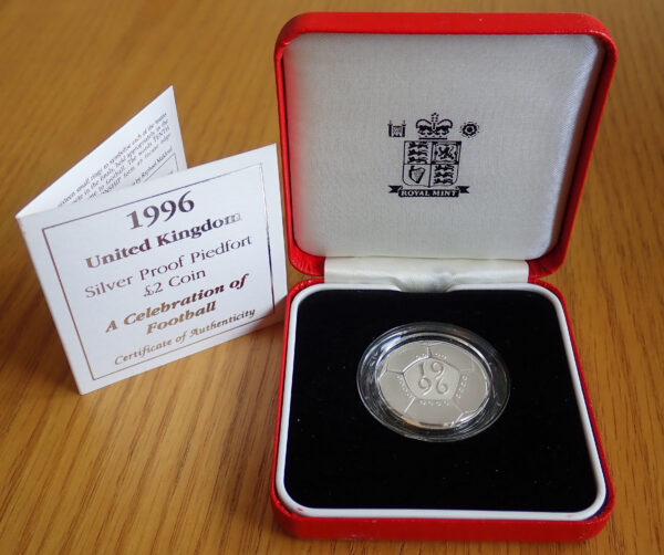 Royal Mint 1996 Silver Proof Piedfort 2 Coin Celebration Of Football