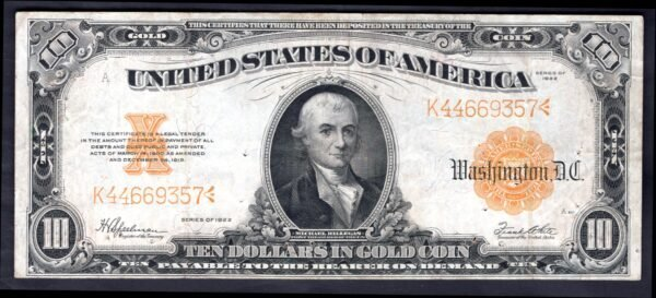 USA: Gold Certificate,10 dollars, series 1922, K44669357, (Pick 274 ...
