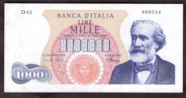 Italy Banca Ditalia1000 Lire 4 1 1968 D42 468534 Pick 96e