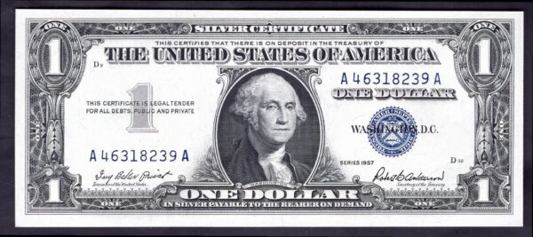 United States: Silver Certificate. 1 dollar. series 1957. A46318239A ...