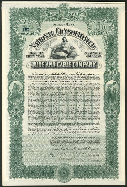 USA: National Consolidated Wire and Cable Co., 1st lien gold bond ...