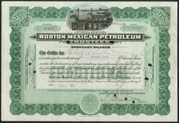 USA: Boston Mexican Petroleum Trustees, Mexico, pair of certs for 100  shares and