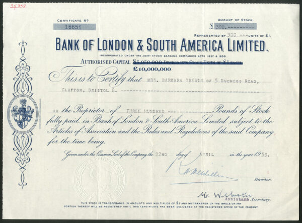 Bank of London and South America