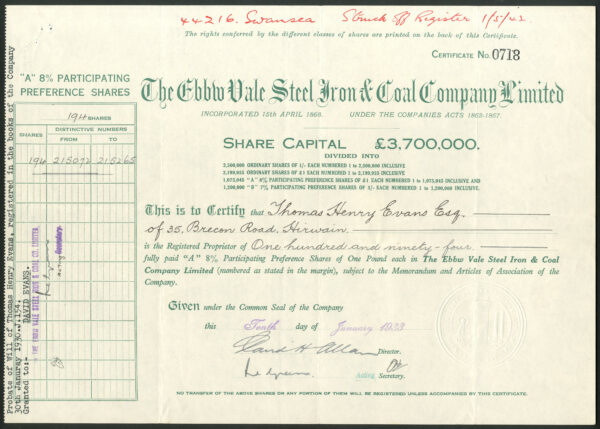 Ebbw Vale Steel Iron A shares