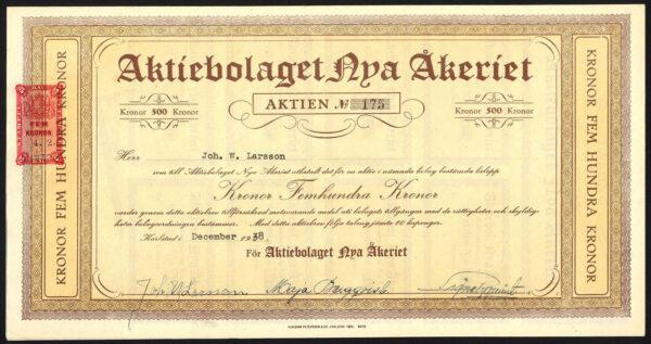Sweden-Aktiebolaget-Nya-Akeriet-500-kroner-share-1938-381458877330