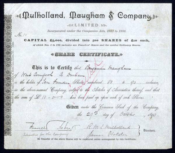 Mulholland-Maugham-Co-10-share-1890-Cornforth-Co-Durham-172431297731