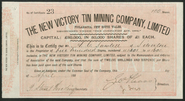 NSW-New-Victory-Tin-Mining-Co-Ltd-1-shares-1888-mines-at-Poolamacca-381868577282