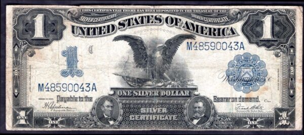 Silver Certificate. One Dollar M48590043A, series 1899, Good Fine ...