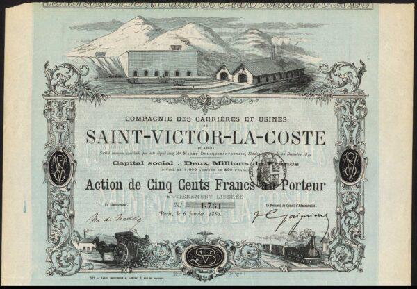 Carrieres-et-Usines-Saint-Victor-La-Coste-500-franc-share-Paris-1880-381875833154