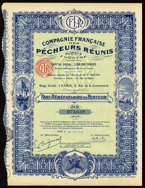 Cie-Francaise-des-Pecheurs-Reunis-pref-share-1926-with-coupons-171988938474