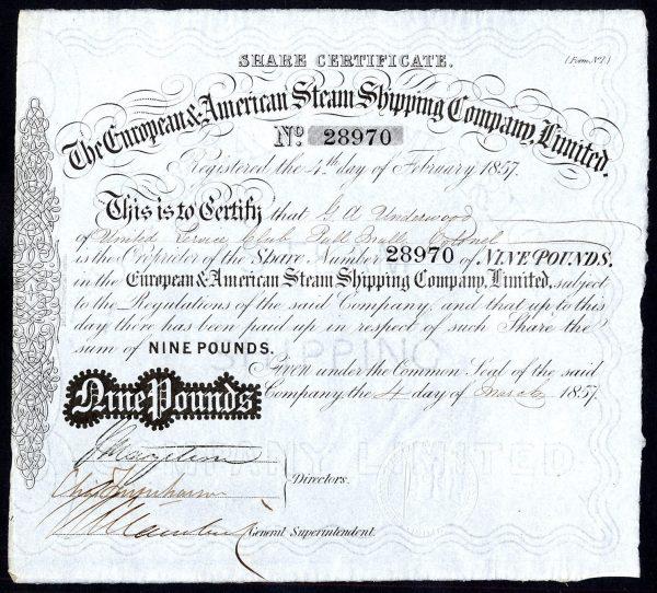 European & American Steam Shipping Co  Ltd , £9 share, 1857