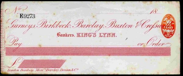Gurneys-Birckbeck-Barclay-Buxton-Greswell-Kings-Lynn-unused-no-cfoil-172447271744