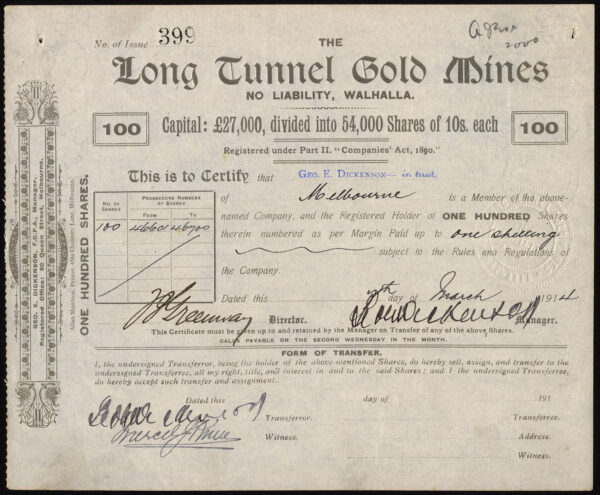 Australia: Long Tunnel Gold Mines NL, Walhalla, Victoria, 100 shares of  10/-, 1914 - M Veissid & Co