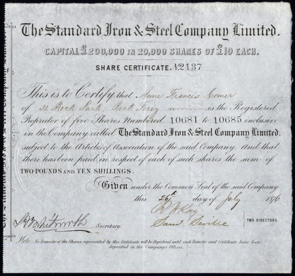 Standard-Iron-Steel-Co-Ltd-10-shares-1876-large-embossed-seal-172202861385