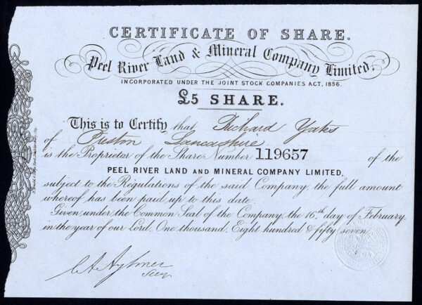 NSW-Peel-River-Land-Mineral-Co-Ltd-5-share-1857-blue-paper-381868577276