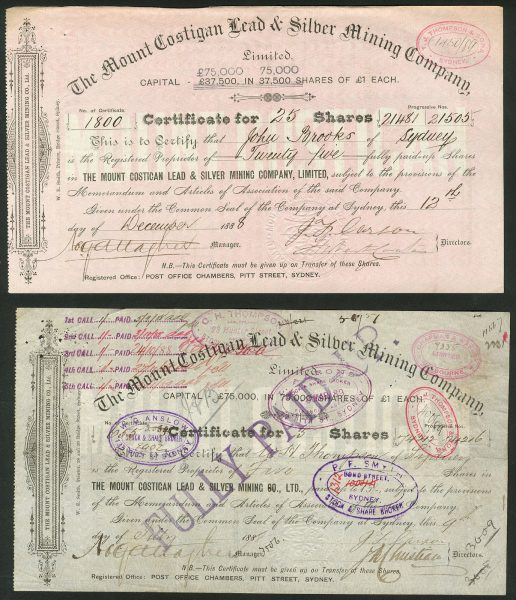 NSW-Mount-Costigan-Lead-Silver-Mining-Co-pair-of-certificates-1888-172427498099