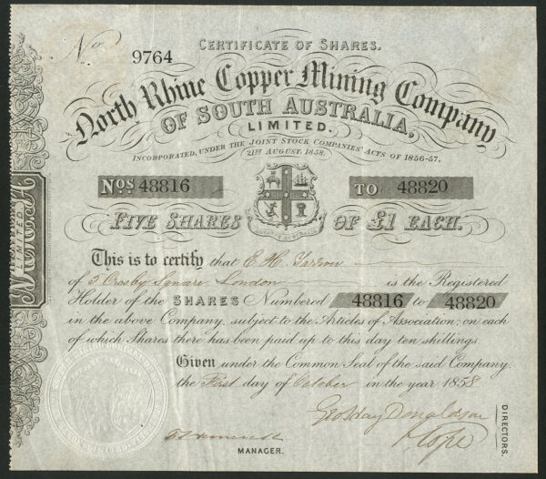 North-Rhine-Copper-Mining-Compnay-of-South-Australia-5-shares-of-1-1858-381868577279