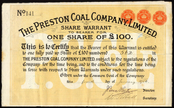 Preston-Coal-Co-Ltd-100-share-1900-with-coupons-rare-171988179519