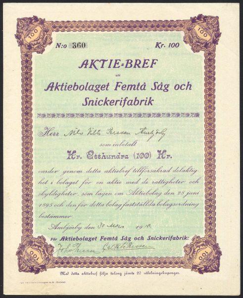Sweden-Aktiebolaget-Femta-Sag-och-Snickerifabrik-100-kroner-share-1918-171989903599